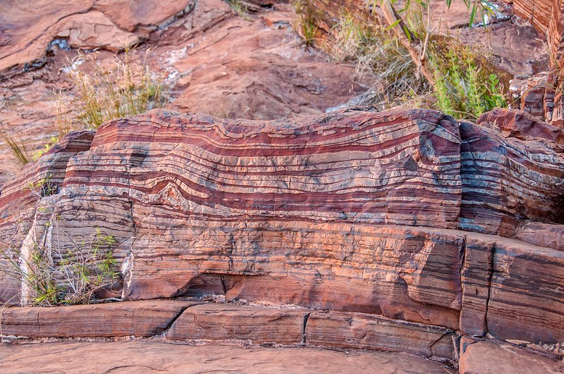 Banded Iron Formation at the Fortescue Falls - Graeme Churchard, 2013 (CC BY 2.0) - https://www.flickr.com/photos/graeme/12116315164/in/photostream/